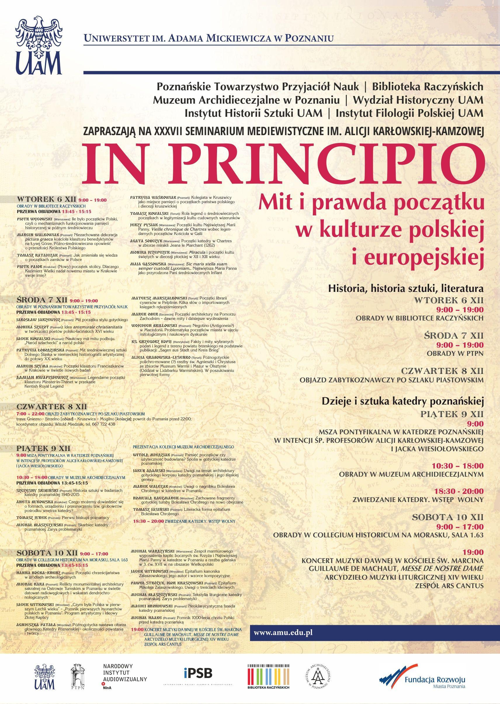 Zaproszenie Na Xxxvii Seminarium Mediewistyczne Poznańskie