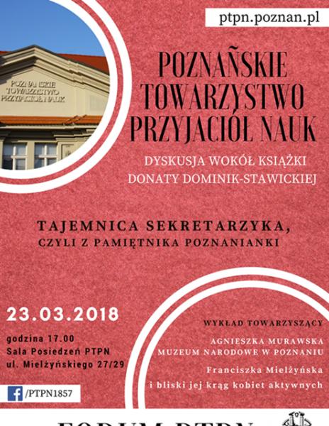 Forum PTPN: Tajemnica sekretarzyka, czyli z pamiętnika Poznanianki