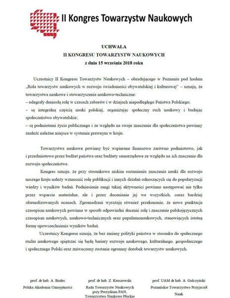 Uchwała II Kongresu Towarzystw Naukowych w Polsce