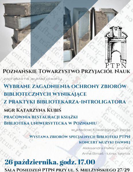 Wykład otwarty – konserwacja i ochrona zbiorów bibliotecznych