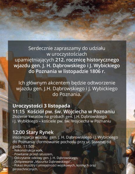 212. rocznica wjazdu gen. Dąbrowskiego i Wybickiego do Poznania