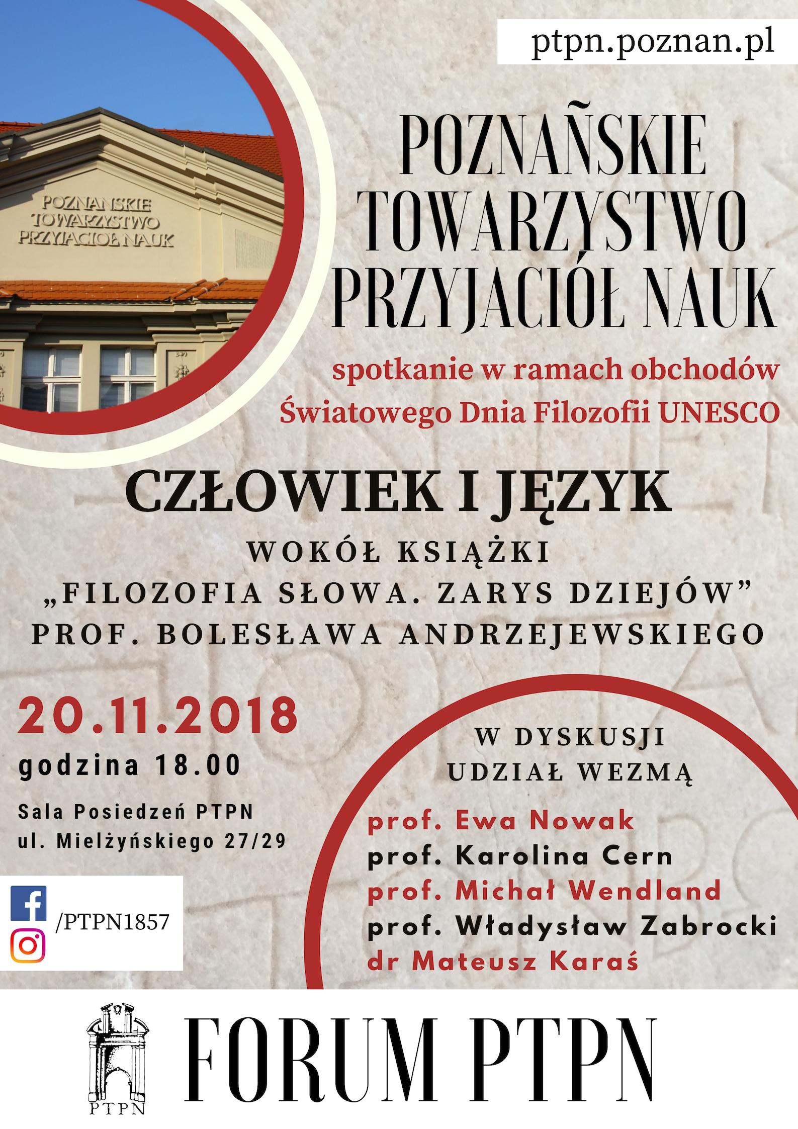Forum PTPN – spotkanie z prof. Bolesławem Andrzejewskim
