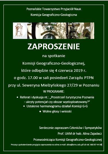 Zaproszenie na zebranie Komisji Geograficzno-Geologicznej PTPN