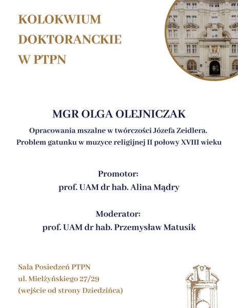 Kolokwium Doktoranckie w PTPN
