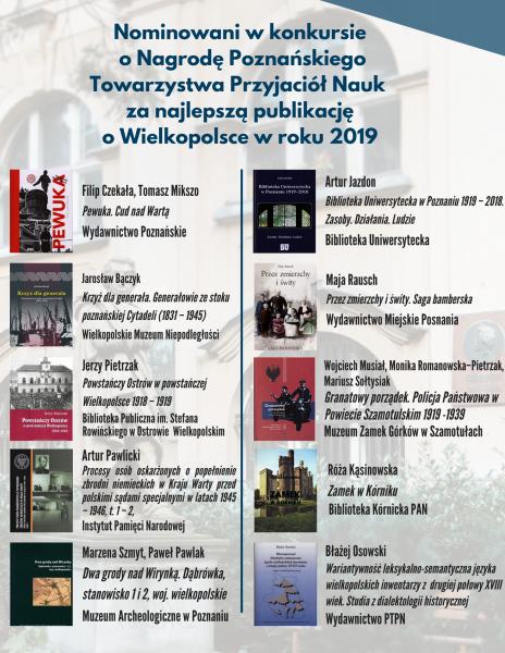 Nominowani w konkursie o Nagrodę PTPN za najlepszą publikację o Wielkopolsce w 2019 r.