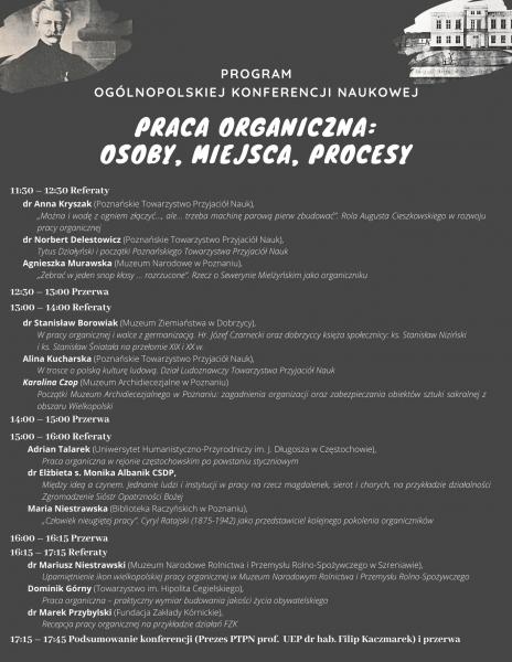 Program konferencji Praca organiczna: osoby, miejsca, procesy