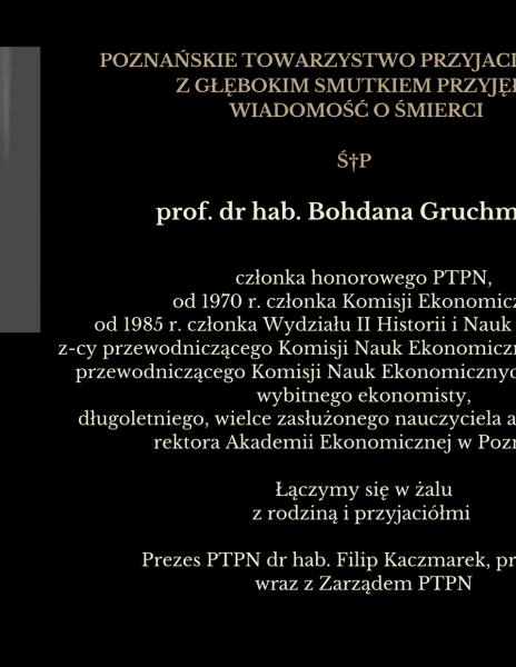 Nekrolog prof. dr hab. Bohdan Gruchman