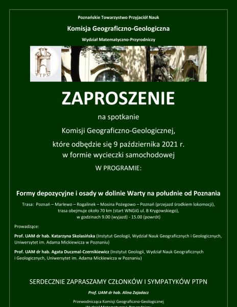 Komisja Geograficzno-Geologiczna PTPN – zaproszenie