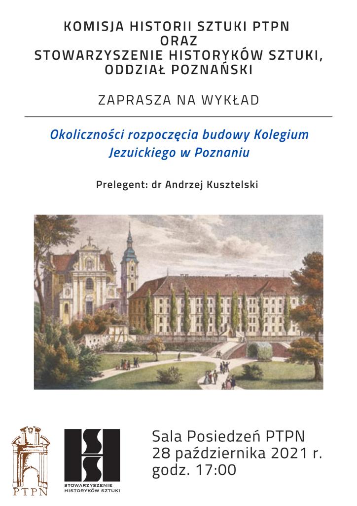 Zaproszenie na wykład w ramach posiedzenia Komisji Historii Sztuki PTPN i poznańskiego oddziału SHS